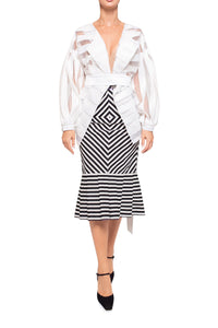 Chevron Stripe Slim Pleat Skirt