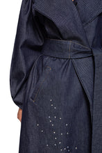 Load image into Gallery viewer, Denim Crystal Wrap Coat