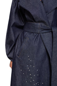 Denim Crystal Wrap Coat