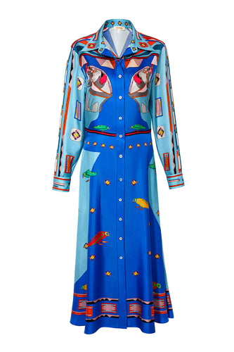 Silk Long Shirtdress - Blue