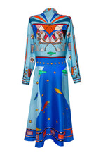 Load image into Gallery viewer, Silk Long Shirtdress - Blue