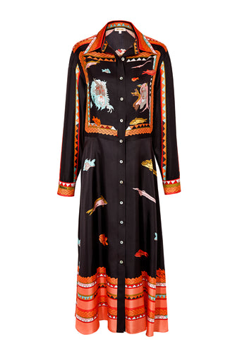 Silk Long Shirtdress - Black