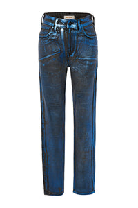 Foil Coated High Waist Jeans