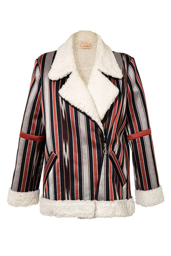 Faux Fur Stripe Bomber Jacket