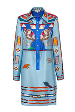 Load image into Gallery viewer, Silk Tunic Shirtdress - Blue