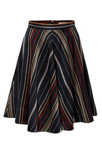 Chevron Stripe Silk Cotton Skirt
