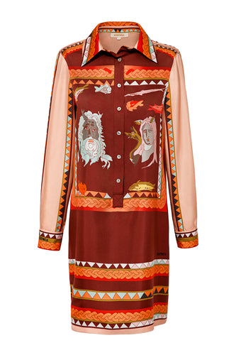 Silk Tunic Shirtdress - Red