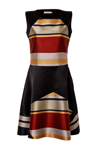 Stripe Patchwork Fit and Flare Dress