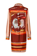 Load image into Gallery viewer, Silk Tunic Shirtdress - Red
