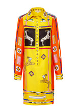 Load image into Gallery viewer, Silk Tunic Shirtdress - Yellow