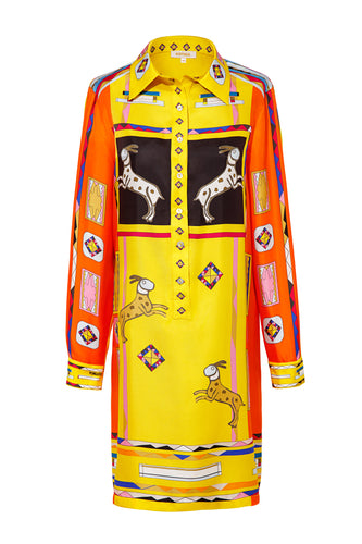 Silk Tunic Shirtdress - Yellow