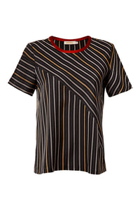 Diagonal Stripe Silk Cotton Top