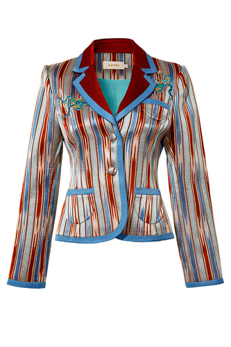 Ikat Stripe Silk Cotton Jacket