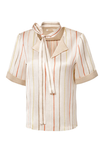 Striped Silk Blouse with Scarf