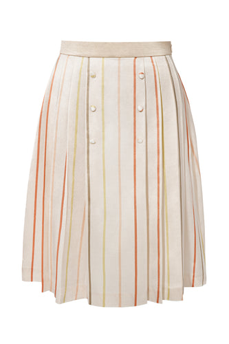 Pleated Striped Silk Skirt