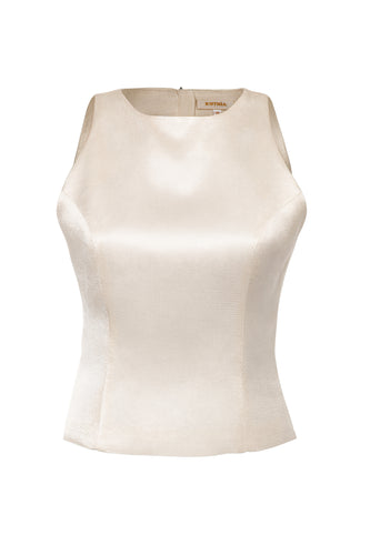 Seamed Sleeveless Silk Top