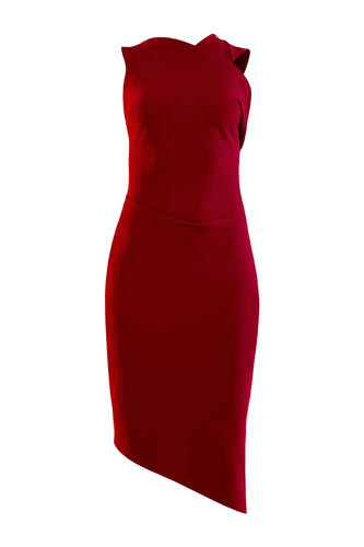Asymmetric Sculpted Dress - Red