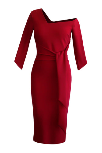 Tie Waist Sculpted Dress - Red