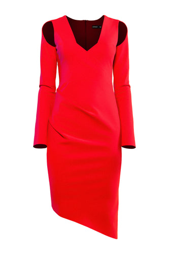 Open Shoulder Sculpted Dress - Red