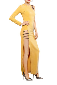 One Shoulder Maxi Dress - Yellow