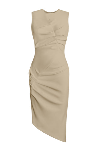 Asymmetric Sleeveless Dress - Sand