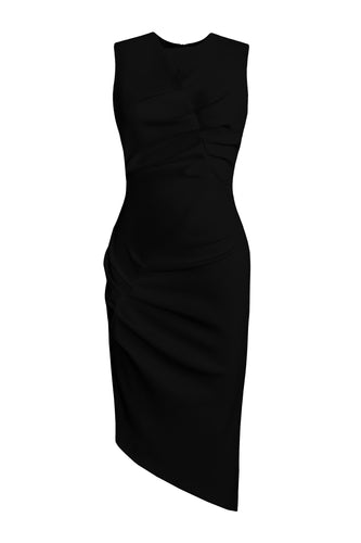 Asymmetric Sleeveless Dress - Black