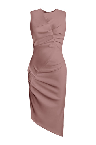 Asymmetric Sleeveless Dress - Dusty Pink