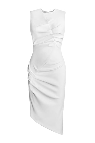 Asymmetric Sleeveless Dress - White
