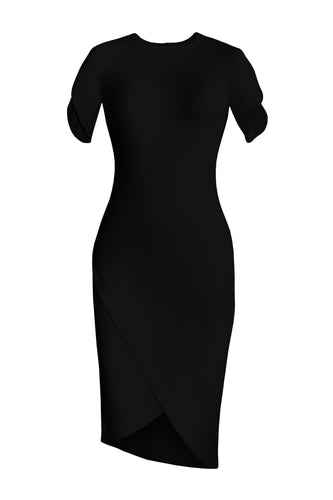 Asymmetric Wrap Dress - Black