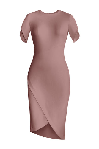 Asymmetric Wrap Dress - Dusty Pink