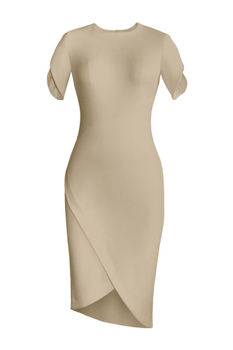 Asymmetric Wrap Dress - Sand