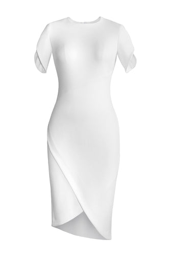 Asymmetric Wrap Dress - White