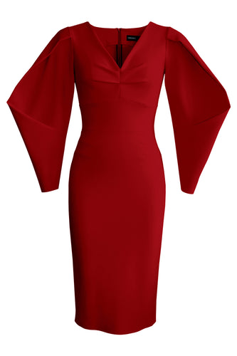 Lantern Sleeve Dress - Burgundy