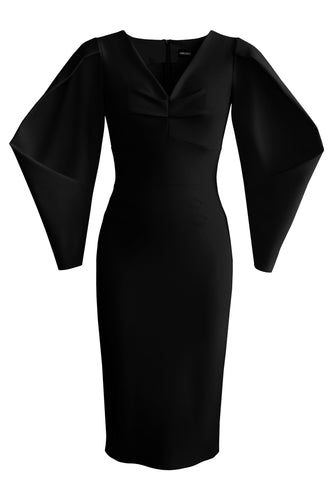 Lantern Sleeve Dress - Black