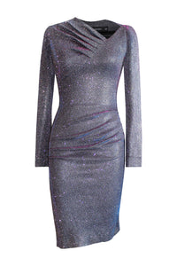 Asymmetric Neckline Shimmer Dress
