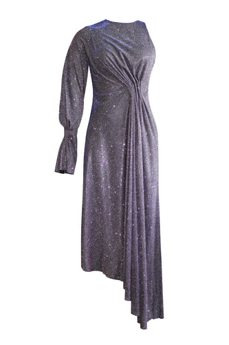 Asymmetric One Sleeve Shimmer Gown