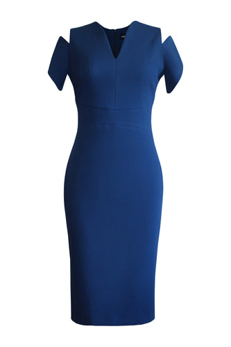 Open Shoulder Pencil Dress - Blue