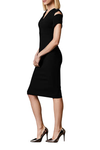 Open Shoulder Pencil Dress - Black
