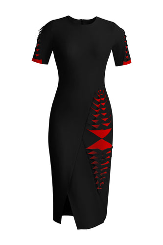 Laser Cut Asymmetrical Dress - Black