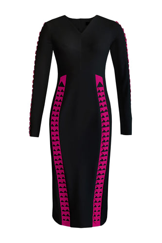 Laser Cut Pencil Dress - Black