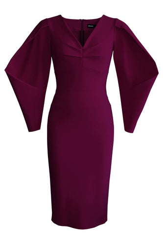 Lantern Sleeve Fitted Dress - Plum