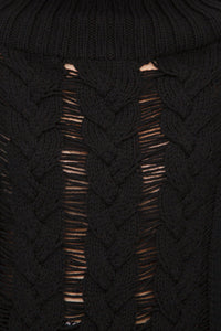 Cable Knit Sweater - Black