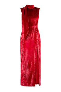 Scarf Neck Velvet Maxi Dress