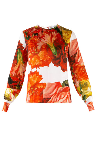 Carnation Print Silk Blouse