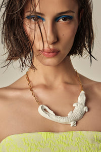 Ceramic Crocodile Necklace