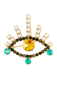 Crystal Eye Brooch