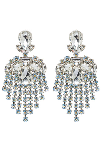 Crystal Pear Chandelier Earrings