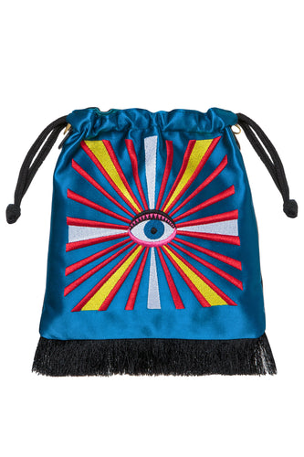 Evil Eye Embroidered Satin Bag