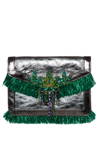 Crystal Leaf Fringe Clutch
