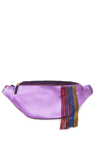 Crystal Fringe Satin Belt Bag